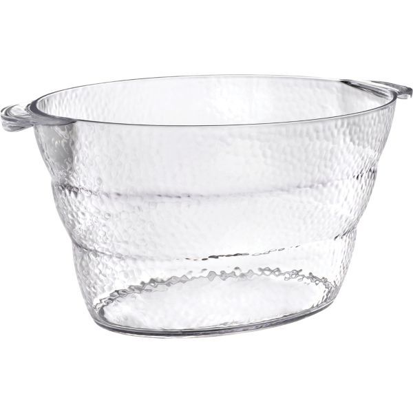 Party City Beverage Tub: CLEAR Premium Plastic Hammered Oval Ice Bucket 11in X 18 1
