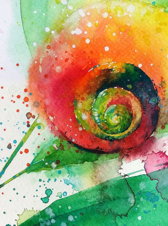 Schnecke Aquarell Malerei A4 A3 Drucken Happy Paintings