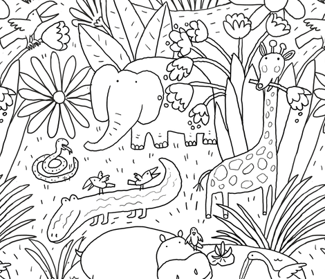 Colorful Fabrics Digitally Printed By Spoonflower Jungle Black And White In 2021 Animal Line Drawings Designs Coloring Books Animal Coloring Pages