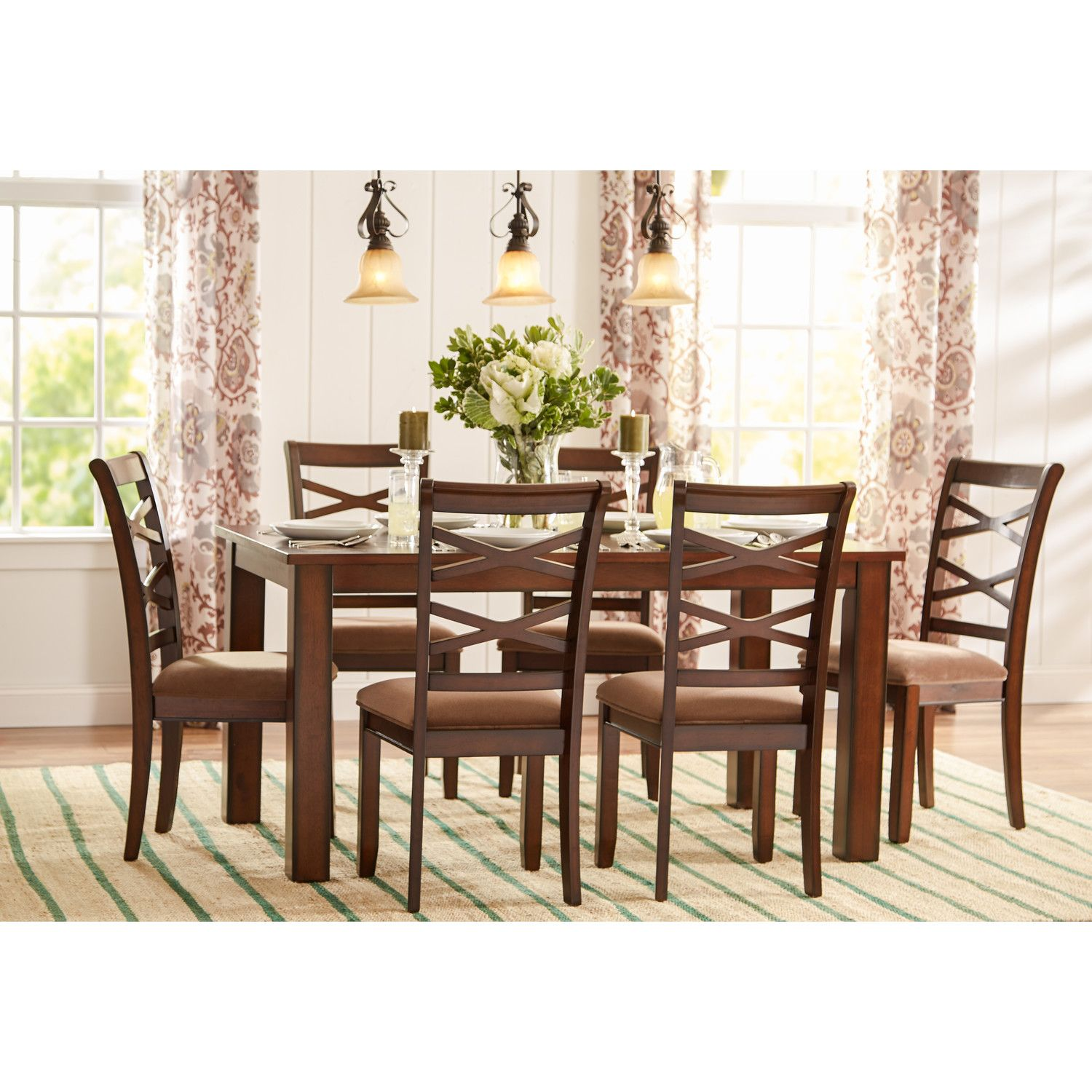 Charmant Three Posts Crossback 7 Piece Dining Set
