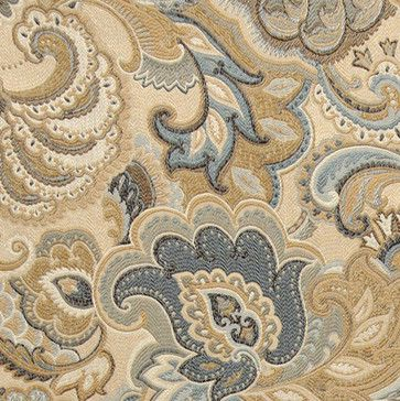 Gold, Blue and Green, Abstract Paisley Upholstery Fabric By The Yard contemporary upholstery fabric