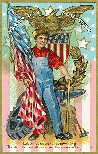 Labor Day Souvenir Labor Holding US Flag and Sledgehammer (12x18 Art Print, Wall Decor Travel Poster)