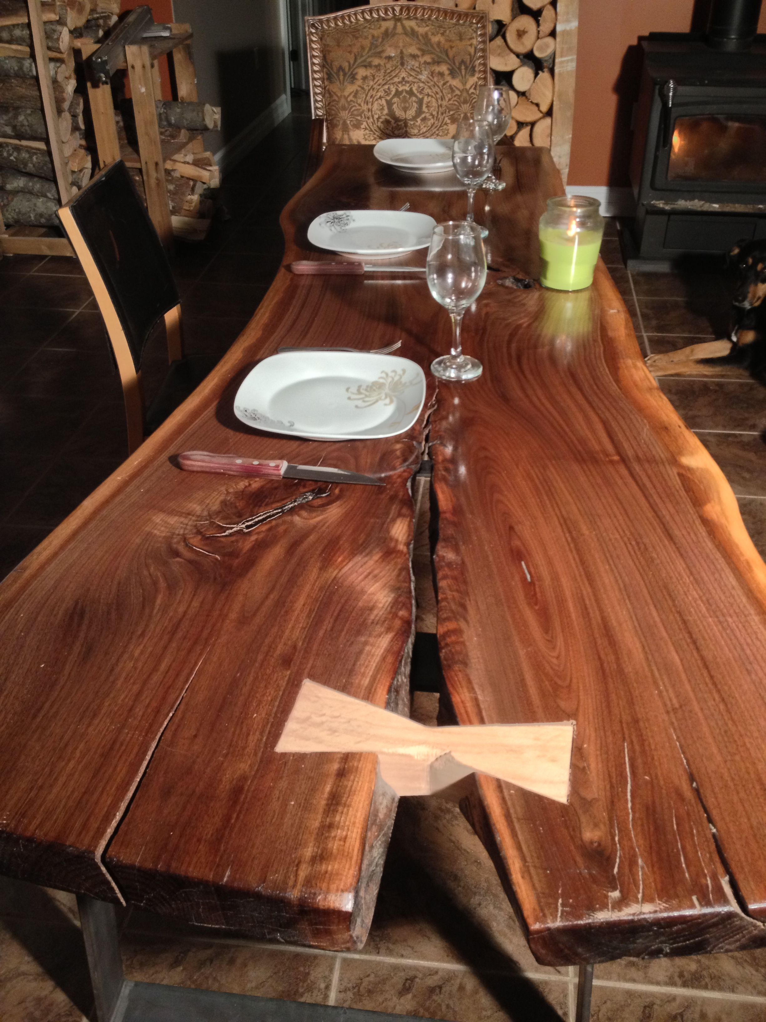 Wonderful Black Walnut Dining Table With Red Oak Butterfly Or Dutchman. A True MAO  Original.