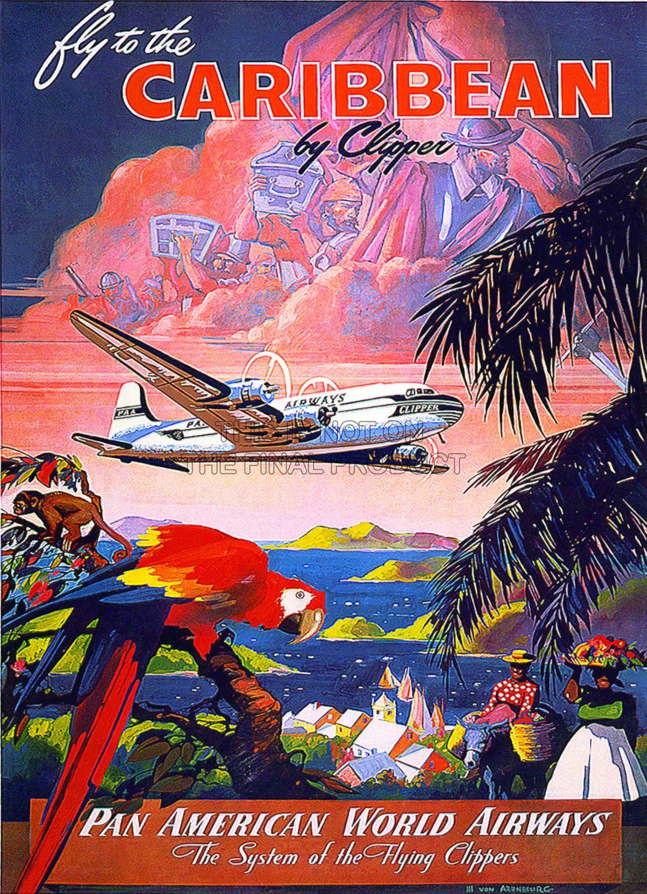Vintage Pan Am Carribean Travel Poster A3 Print