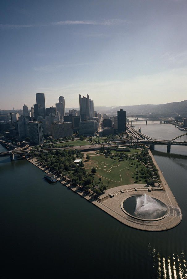 Pittsburgh, Pennsylvania, and the confluence of the Monongahela and Allegheny Rivers, where the Ohio River begins.