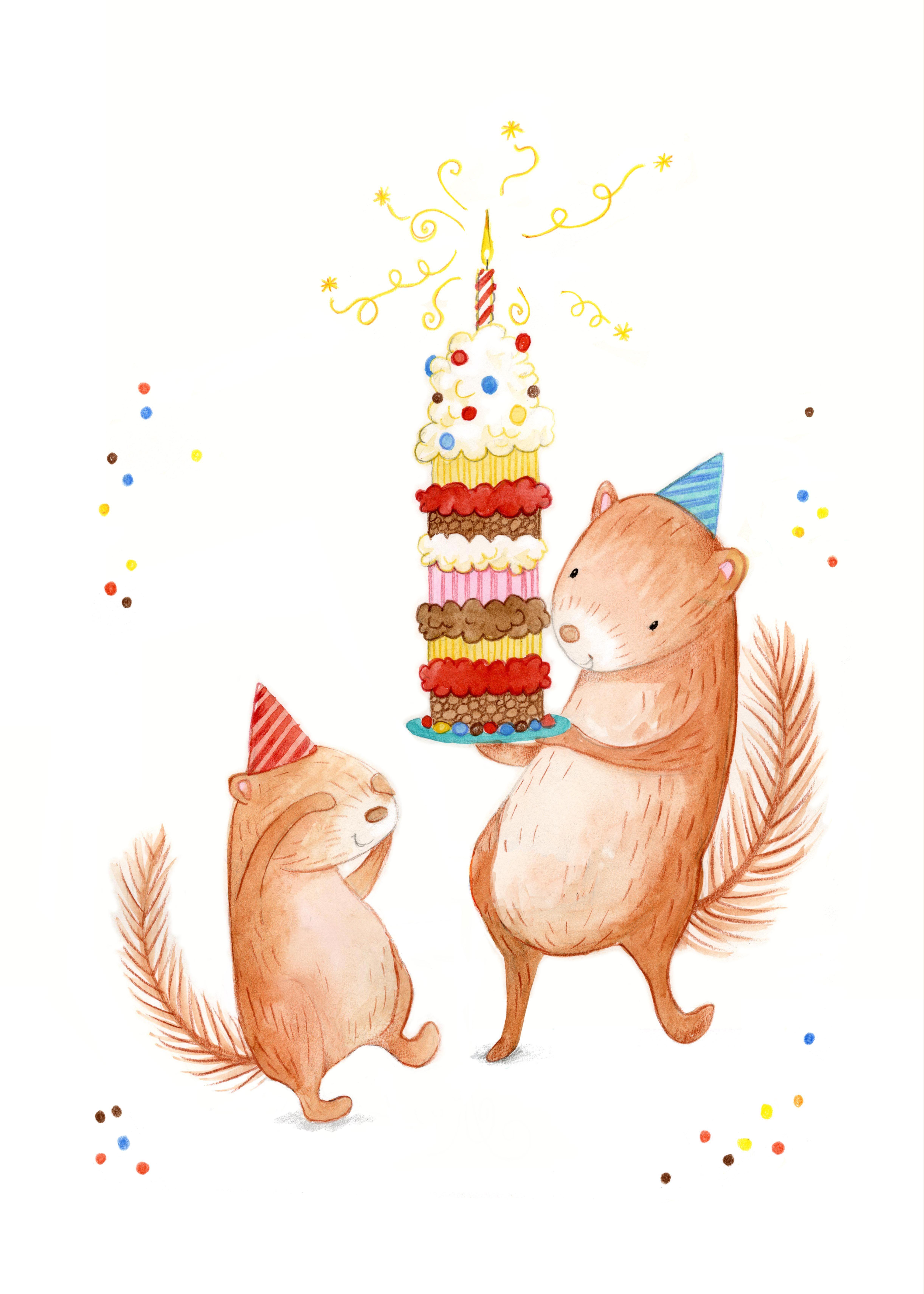 мир, открытки с днем рождения с белками этой