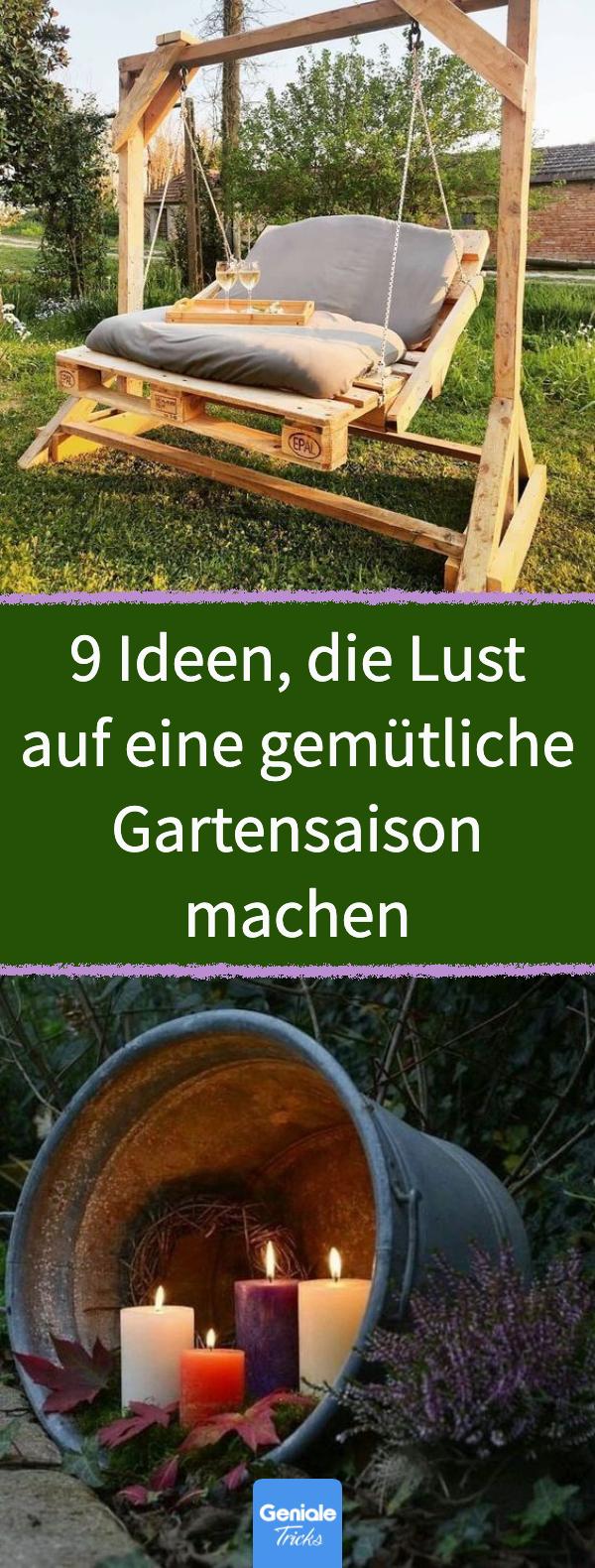 Garten gemütlich gestalten: 9 DIY-Ideen