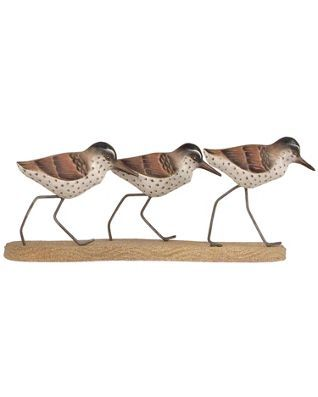 SANDPIPER TRIO METAL WALL SCULPTURE WALL ART NAUTICAL DECOR