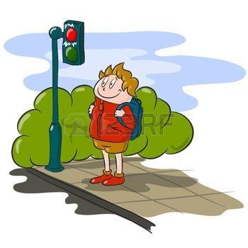 Traffic Light Cartoon The Boy Waiting To Cross The Road