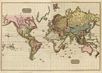 World Map Poster Triple Projection  Magnetic Notice Board White Framed