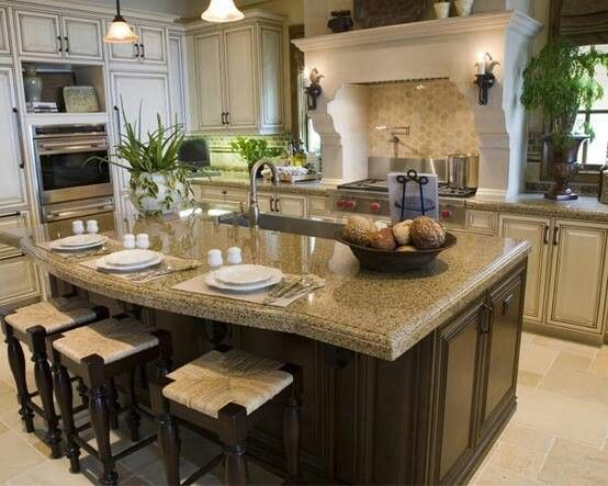 Kitchen white cabinets with dark wood island