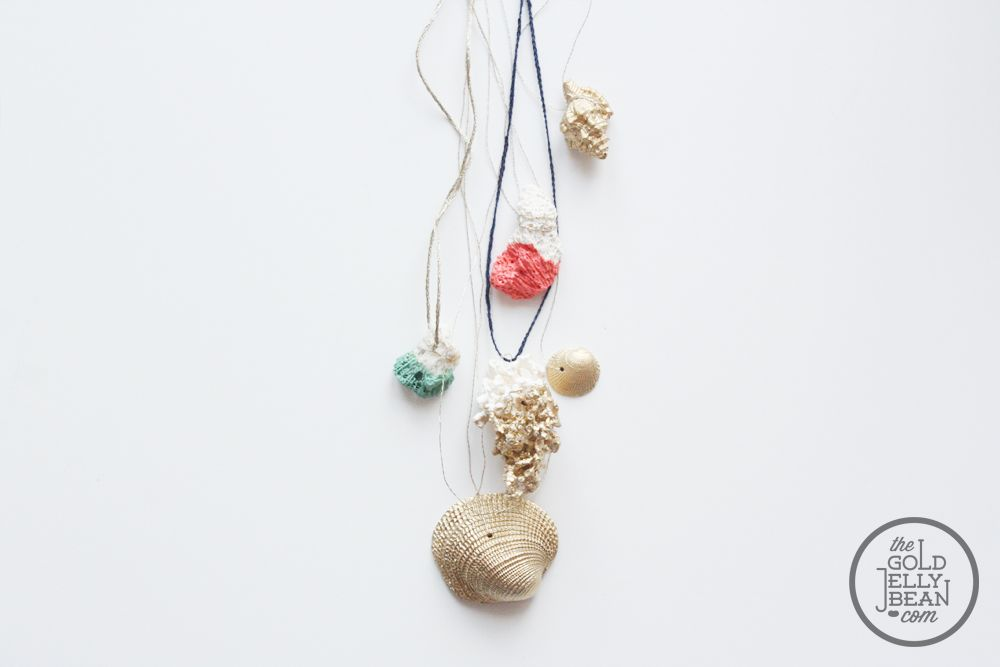Jewelry DIY with Paint Dipped Coral and Gold Shells art projects i