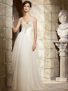 A-Linie/Princess V-Ausschnitt Hof-schleppe Ärmellos Perlen verziert Tüll Wedding Kleider