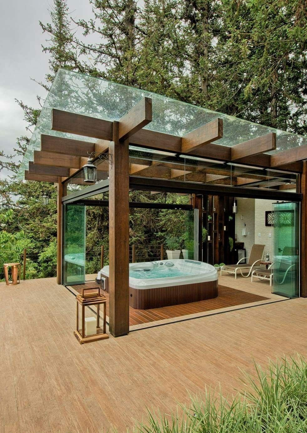 Pergola Covered With Glass Or Acrylic Bifold Glass Doors To Enclose