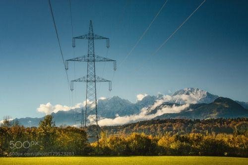 Technik und Natur by Hribernigg_Richard  autumn landscape fog mountains wood colours Austria Nebel Wald Herbst Österreich Salzburg Landschaft