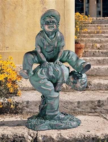 Design Toscano Leap Froggin Playing Boys Garden Statue | Ideas For Yard |  Pinterest | Garden Statues