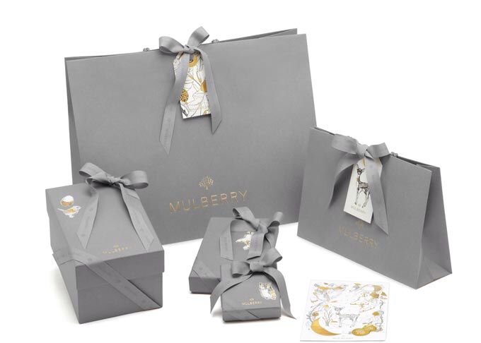 Christmas Packaging from Mulberry The service is now available Mulberry Gift Wrapping http://www.fashionblagstheblog.com/2013/12/mulberry-christmas-ad-campaign.html