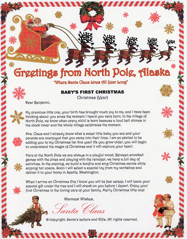 Sample of babys first christmas santa letter from santas letters santa letter sample from santas letters and gifts in north pole alaska spiritdancerdesigns Images