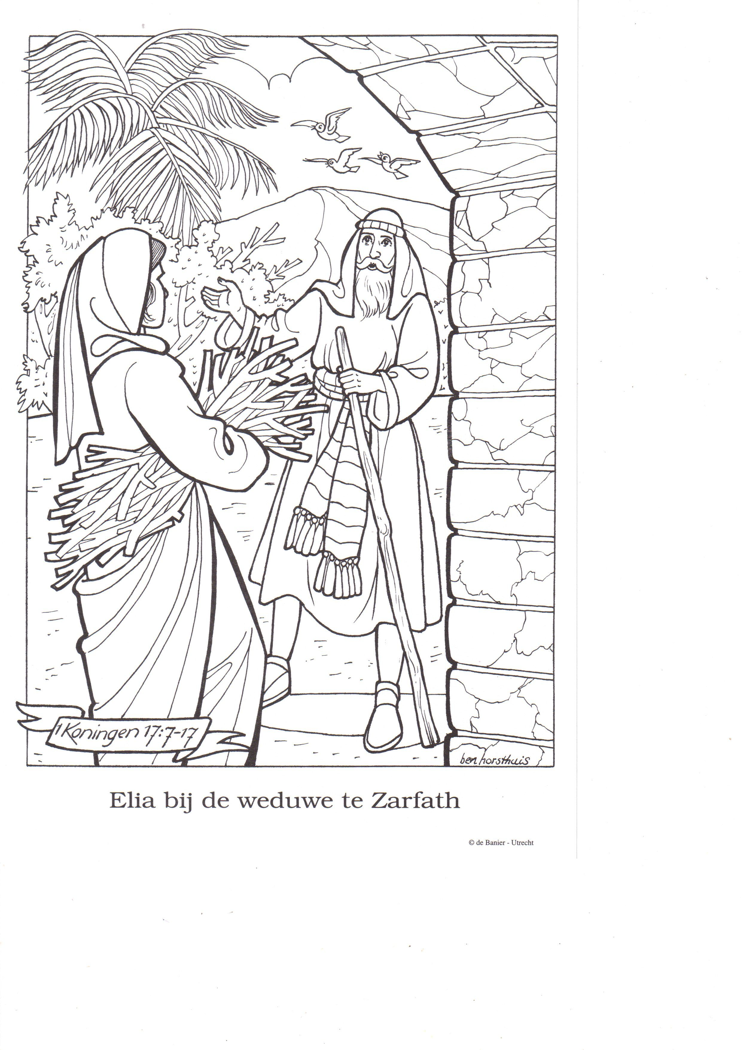 Elijah And The Widow Of Zarapheth Elijah And The Widow Bible Coloring Pages Coloring Pages