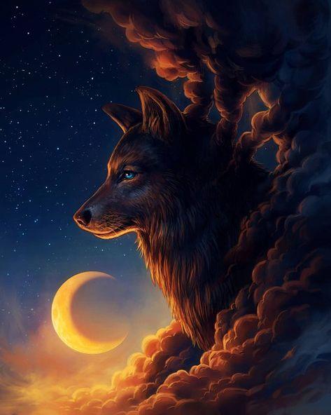 Night Guardian – Signed Fine Art Giclee Print – Wall Decor – Fantasy Wolf Moon – Painting by Jonas Jödicke