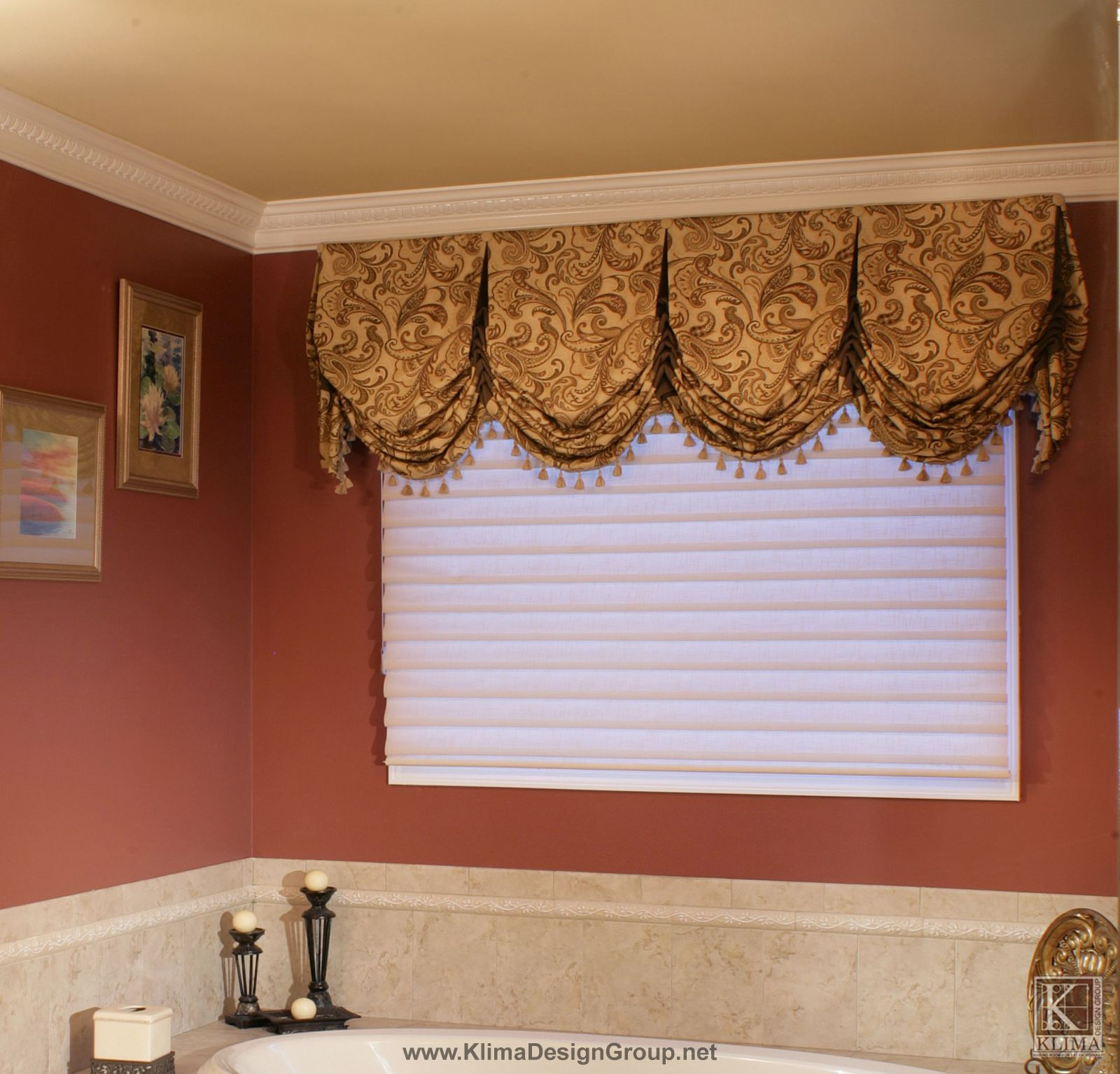 Custom Bathroom Valance With Contrast Trim And Buttons