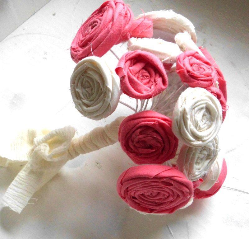 Wedding Bouquet, Rosettes, Custom Colors, Bridal Bouquet, Fabric ...