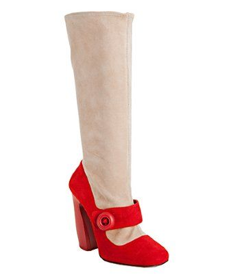 Prada red and nude suede mary jane boots | BLUEFLY up to 70% off designer brands at bluefly.com