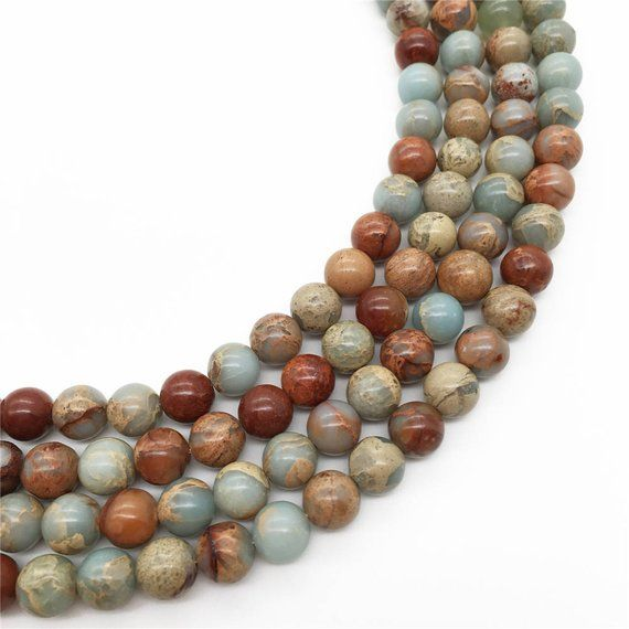 Faceted Blue Color Imperial Jasper Gemstone Round Beads Size 8mm