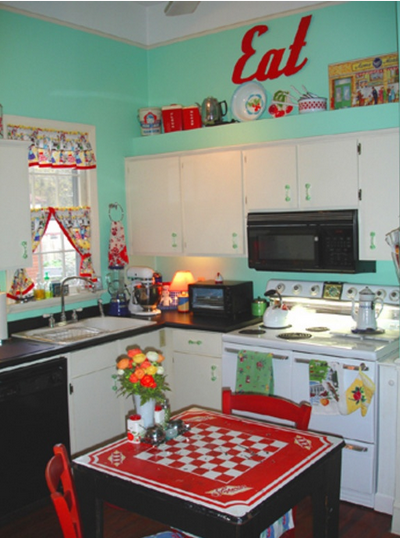 Retro 60s-style kitchen with Checkers table | The Lil Food Truck in on diy kitchen cabinets, 60s style bedding, 60s style counter tops, 60s style refrigerator, 1960s kitchen cabinets, summer kitchen cabinets, 60s style lamps, fashion kitchen cabinets, 60s style fireplace, 60s style home decor, 60s style accessories, tv kitchen cabinets, 60s style bars, 60s style wallpaper, vintage kitchen cabinets, 60s style furniture, 60s style interior design, trends kitchen cabinets,