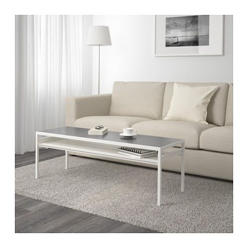 NYBODA Coffee table w reversible table top, white gray Apartment Table furniture, Solid wood