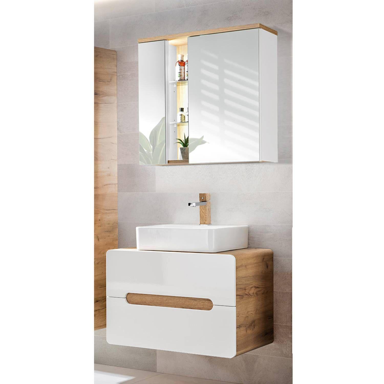 Badmobel Waschplatz Set Luton 56 Hochglanz Weiss Wotaneiche Mit Keramik Waschtisch Und Led Spiegelschrank Bxhxt 80x195x46cm In 2020 Spiegelschrank Waschtisch Schrank