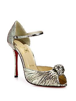 Christian Louboutin - Marchavekel Knotted Metallic D'Orsay Pumps