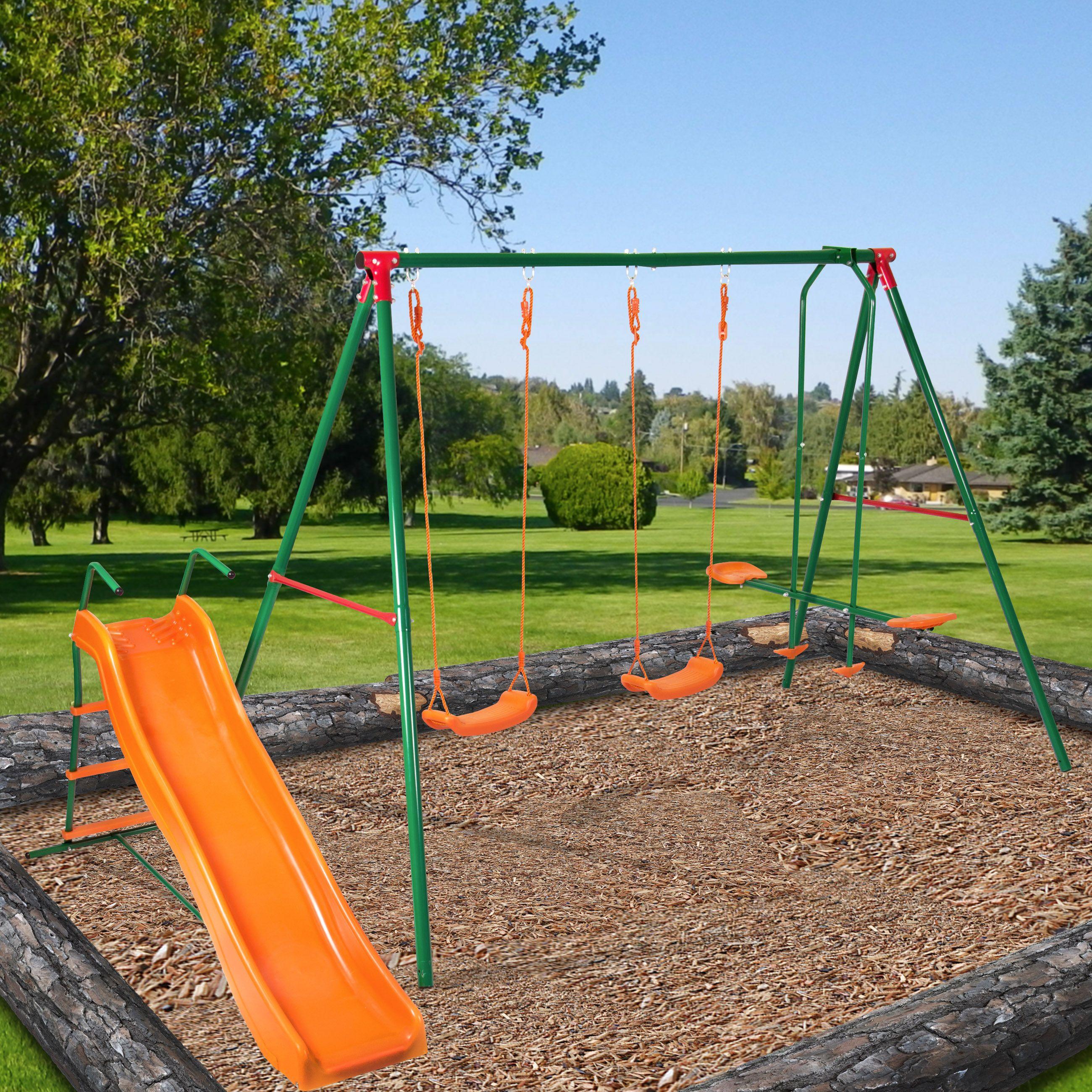 best choice products kid metal swing playground set w wavy slide