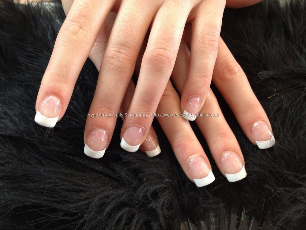 White tips over acrylic natural overlays   manicures   Pinterest ...