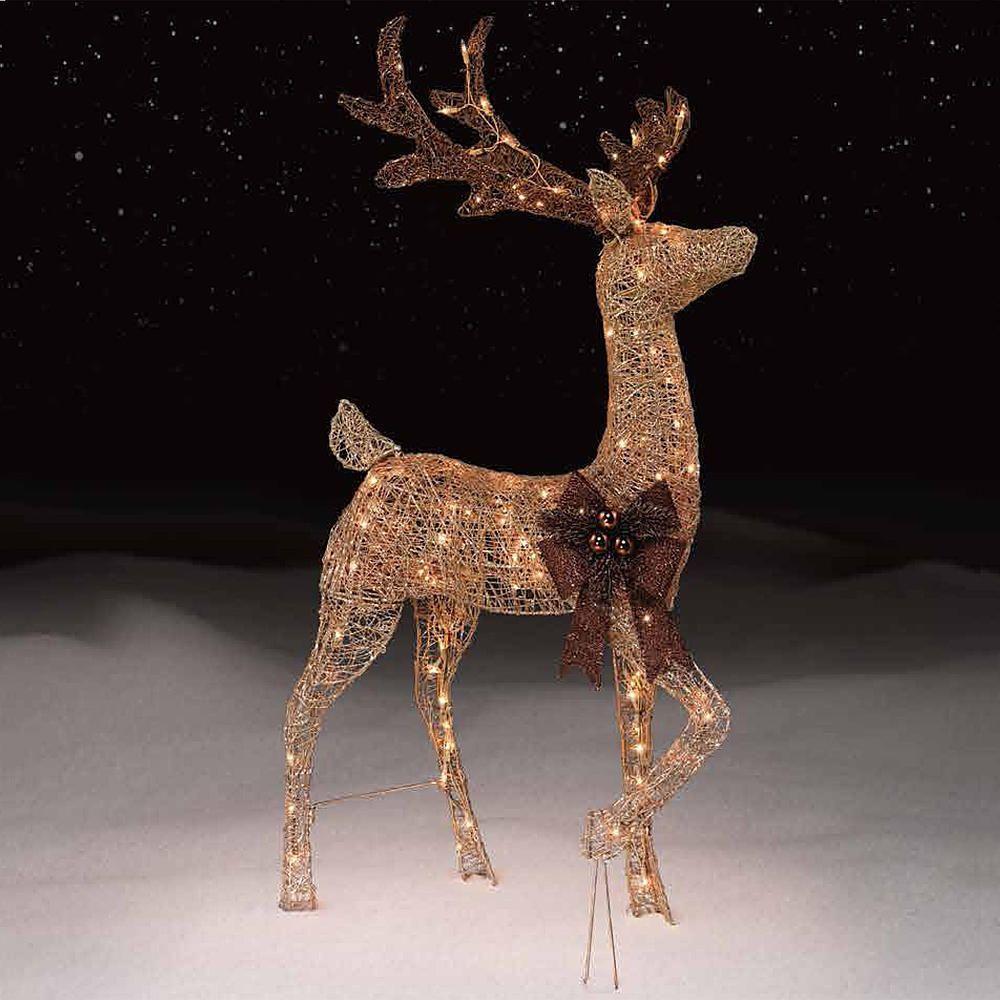christmas 48 deer buck reindeer lighted indoor outdoor yard art figure decor unbranded - Outdoor Christmas Reindeer Decorations Lighted
