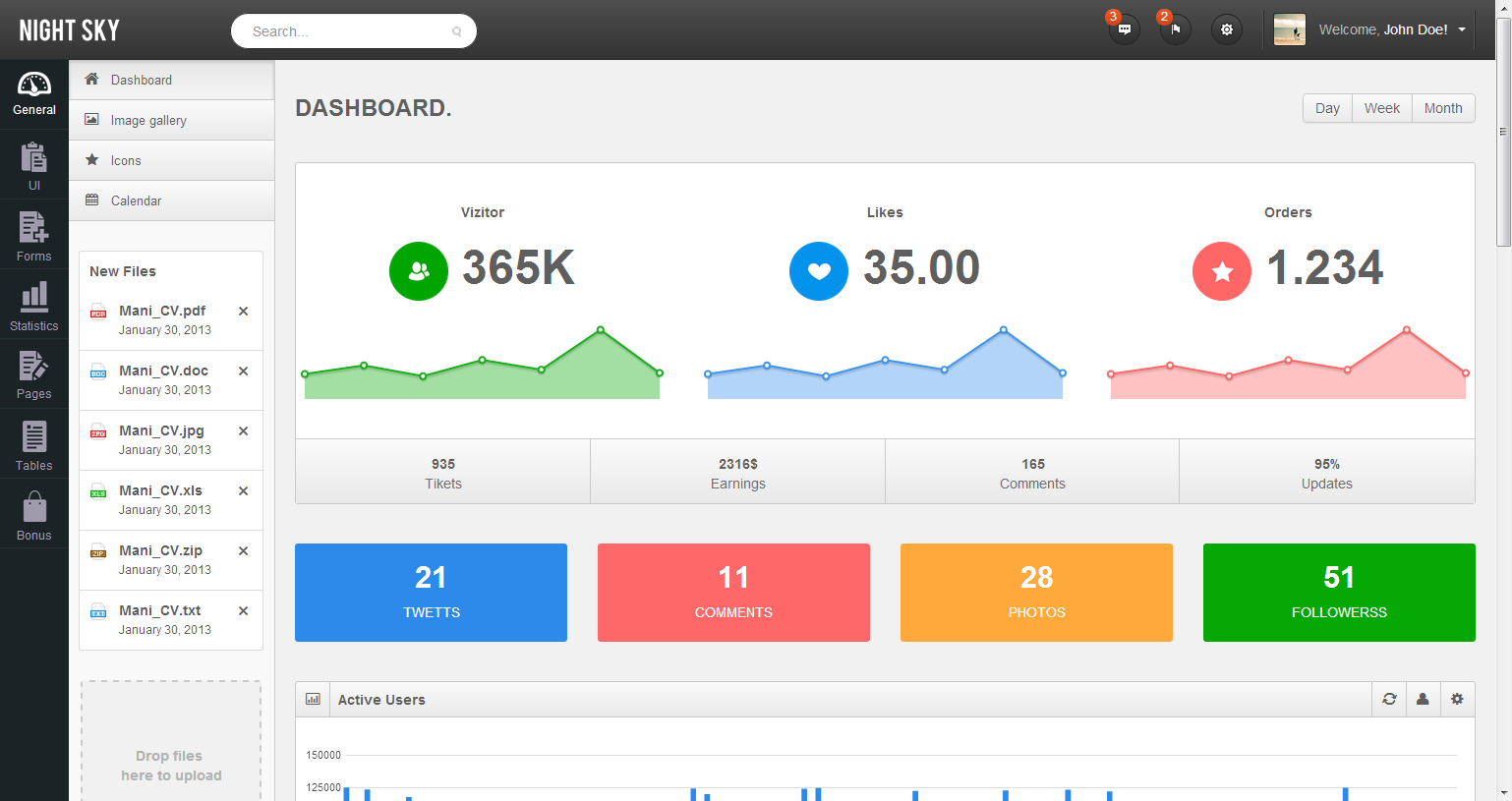 Night Sky Ultimate Responsive Bootstrap Admin