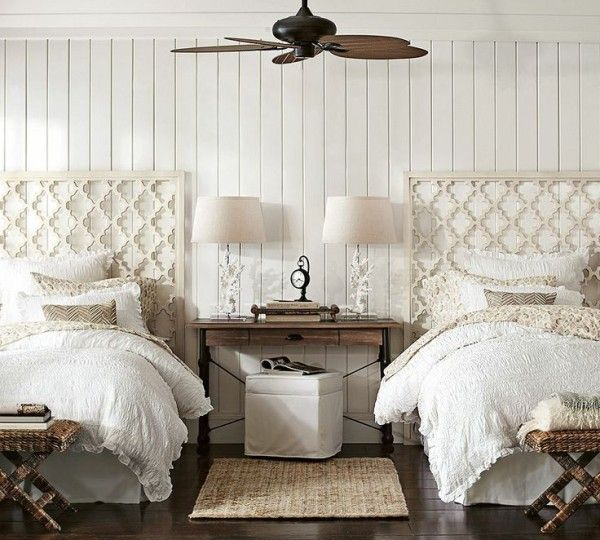 White Coastal Themed Guest Room With Twin Beds Decoist Twin Beds Guest Room Guest Bedrooms Home Bedroom