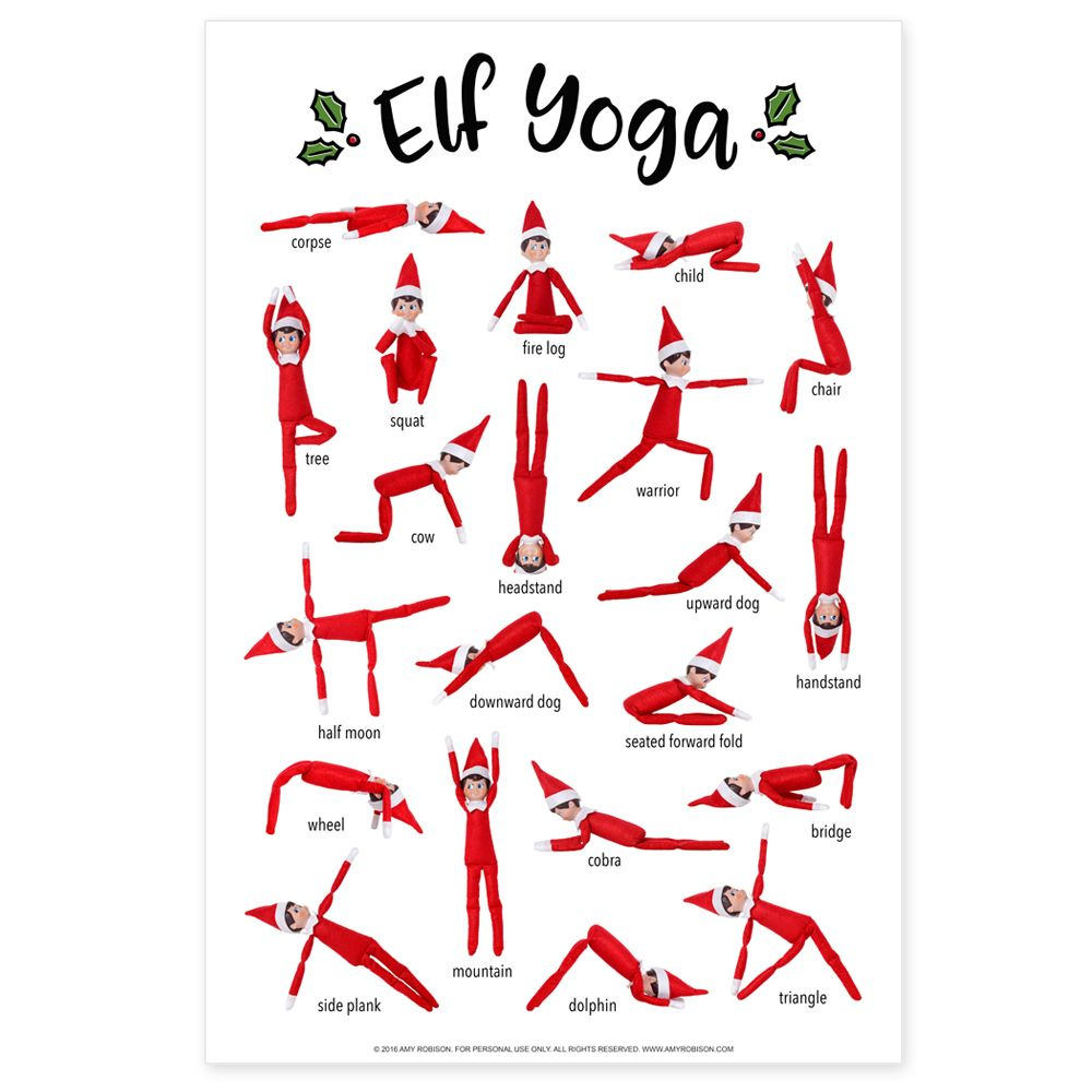 Elf Yoga Poster Printable Awesome elf on the shelf ideas