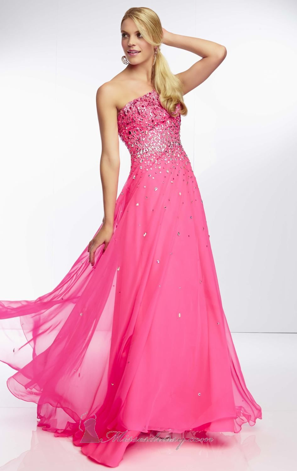 Court Train One Shoulder Prom Dress Ombre Hot Pink Yellow Gradient ...