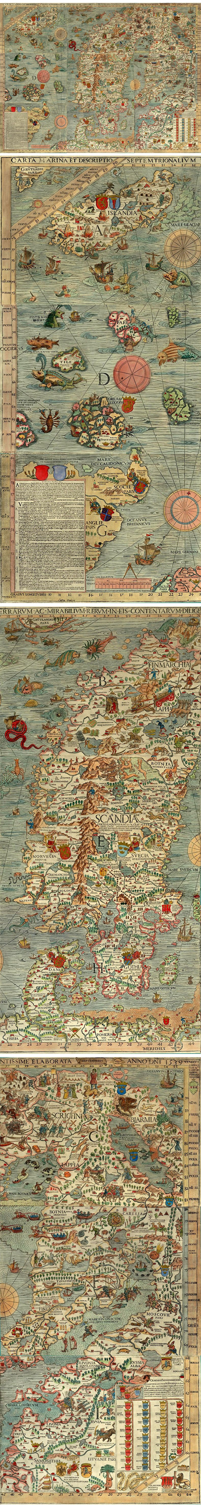 Carta Marina - This map was first printed in Venice in 1539 – it was created by the Olaus Magnus, a Swedish ecclesiastical official who lived in Italy from 1524 to his death in 1567. This map of Scandinavia is very large (125 cm tall and 170 cm wide) and is colourfully illustrated with various animals and monsters.