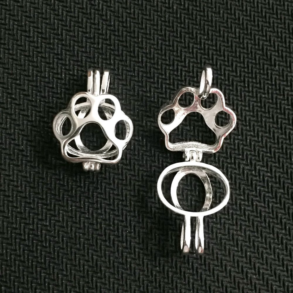 Paw print pearl pendant mounting silver locket cage pendant fashion paw print pearl pendant mounting silver locket cage pendant fashion jewelry necklaces pendants aloadofball Image collections
