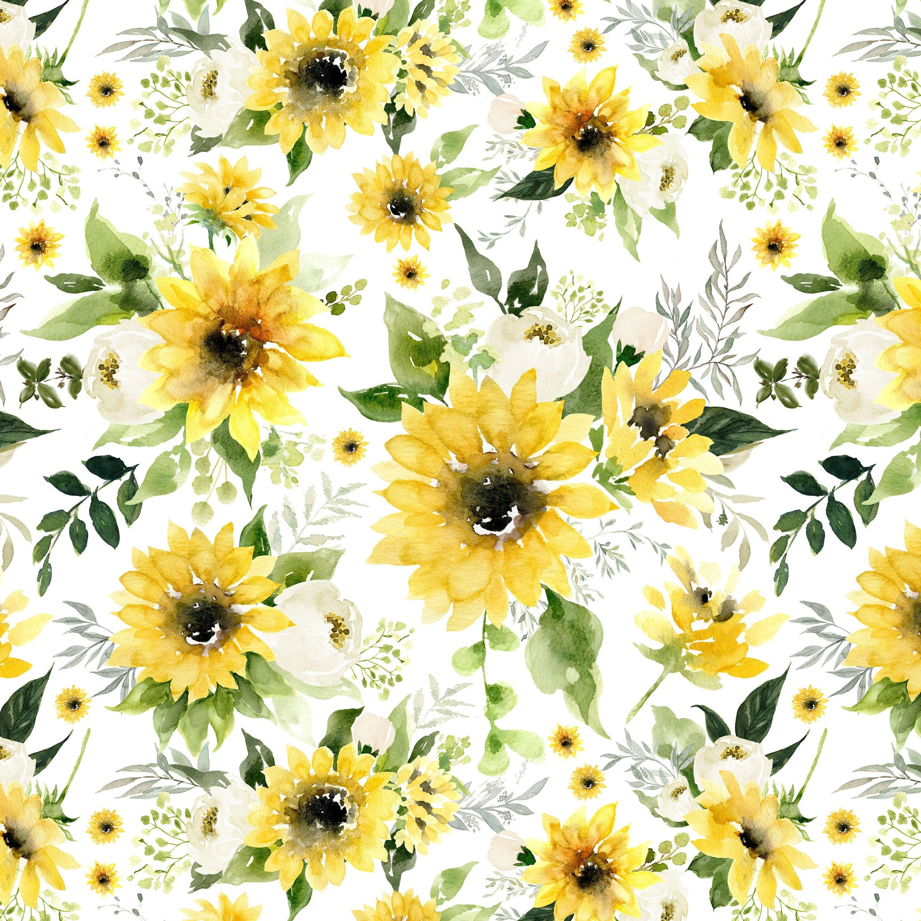 Sunflowers And Roses Fabric By The Yard Quilting Cotton Knit