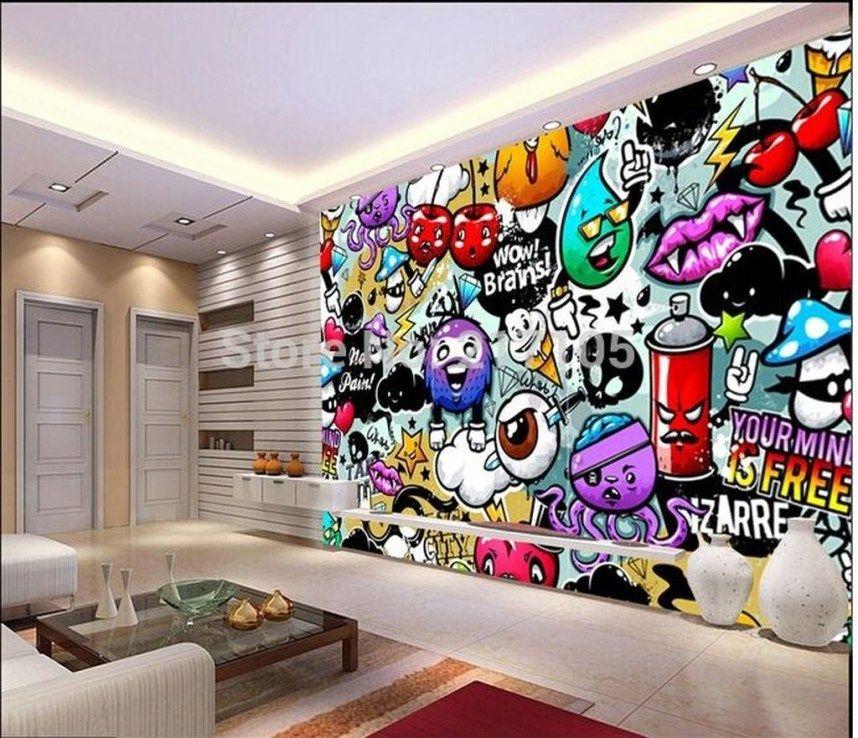 Captivating 3d Wallpaper Ideas To Adorn Your Living Room 05 Graffiti Room Wallpaper Living Room Kids Room Wallpaper
