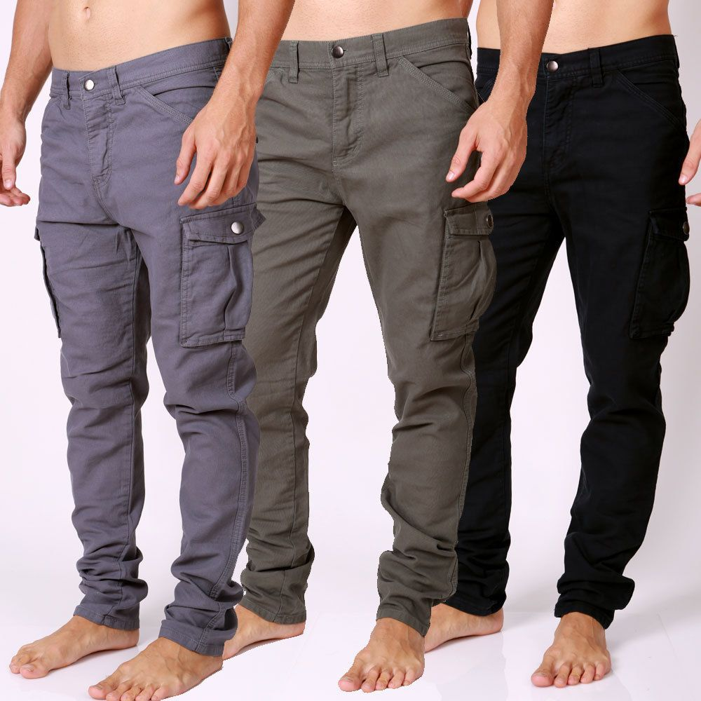 Details about Men's NEW DESIGNER Cargo Pants Straight Leg TOUGH ...