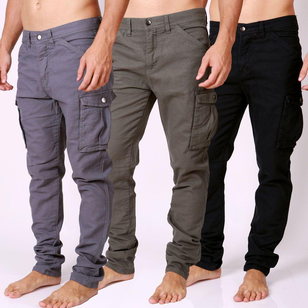 Details about Men's NEW DESIGNER Cargo Pants Straight Leg TOUGH ...