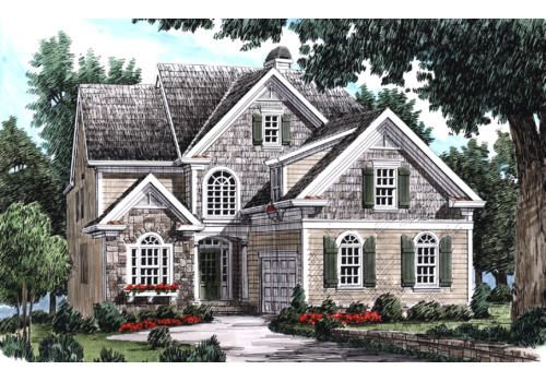 Yarborough House Plan The Courtyard Garage Entrance Is The Defining Feature Of The Yarb In 2020 Narrow Lot House Plans Country Style House Plans French Country House