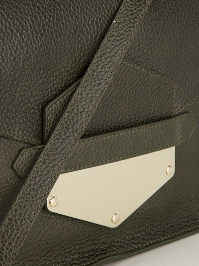 SOPHIE HULME - Dark kakhi arrow tab clutch