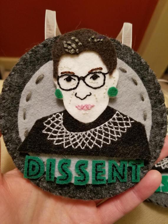 Pattern Ruth Bader Ginsburg Dissent Ornament Etsy Pattern Felt Ornaments Felt Crafts