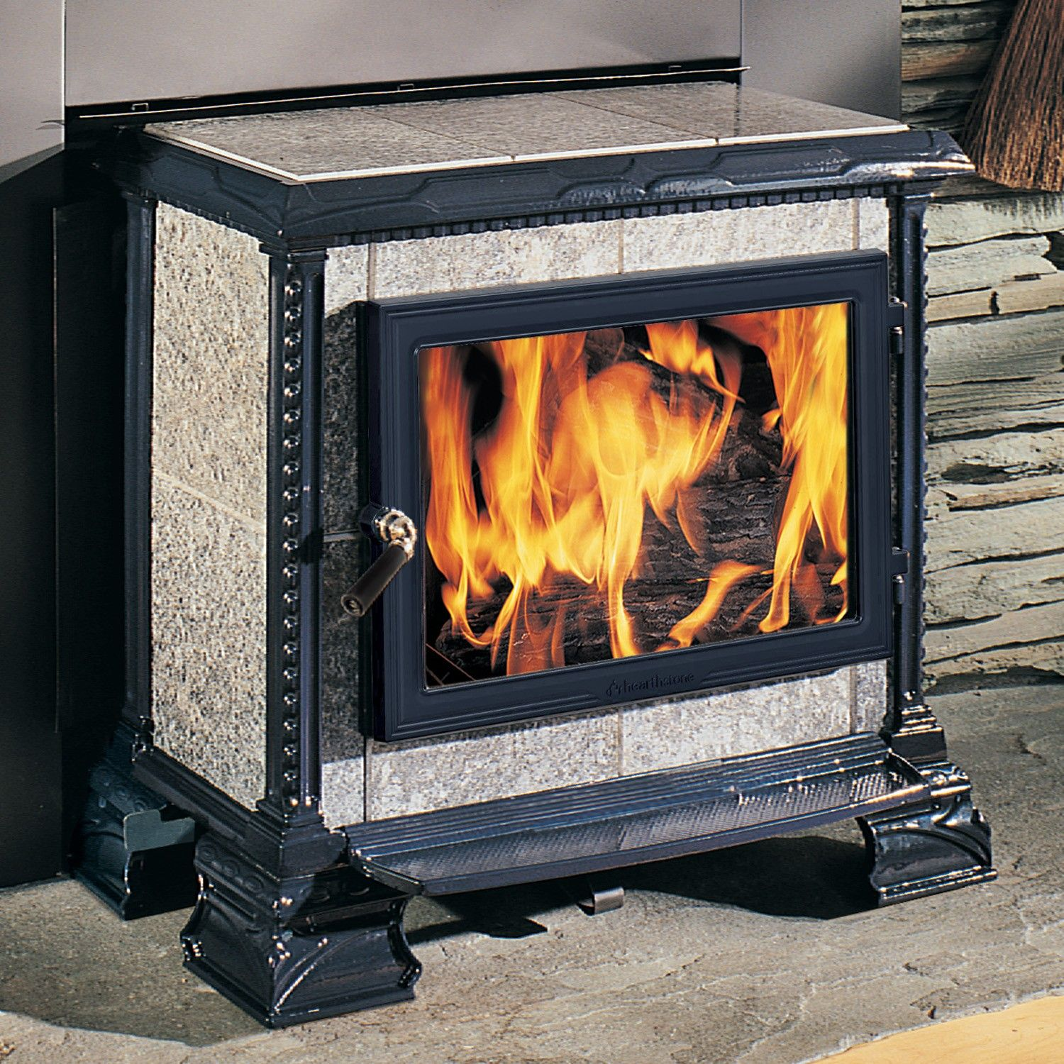 homestead hearthmount 8570h wood stove with blue black satin enamel