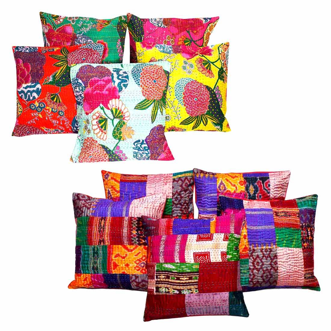 Get The of 10 Halowishes Jaipuri Handmade  Cotton Cushion Cover Set
